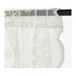 IKEA - ALVINE SPETS, Lace curtains, 1 pair, The lace curtains let the daylight through but provide privacy so they are perfect to use in a layered window solution.The slot heading allows you to hang the curtains directly on a curtain rod.