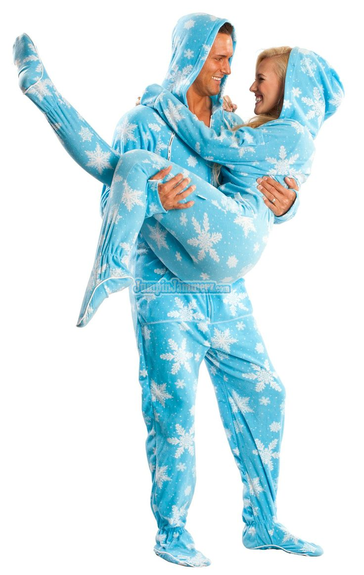 Frosty Flakes Hooded Footed Pajamas features: Hoodie, Thumb holes, Front pockets, Left shoulder pocket perfect for your phone. 100% polar fleece, preshrunk, fully machine washable. See size chart for full sizing details $49.99
