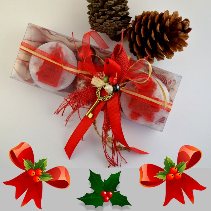 RED Christmas Handmade Gift Set containing three red Christmas figure Luxury Royalty Scented Soaps - raspberry scent and a lovely handmade New Year Charm for Good Luck in the packaging.  Lovely festive scented soaps inspired by Christmas spirit to be provided as a little treat for your holiday guests!  The perfect gift for everyone: glamorous, luxe and useful.