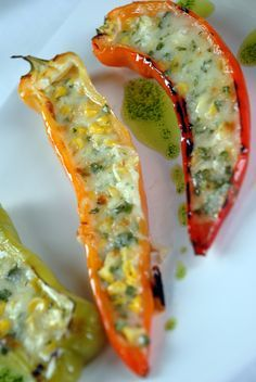 Grilled Cubanelle Peppers Stuffed with Cheese