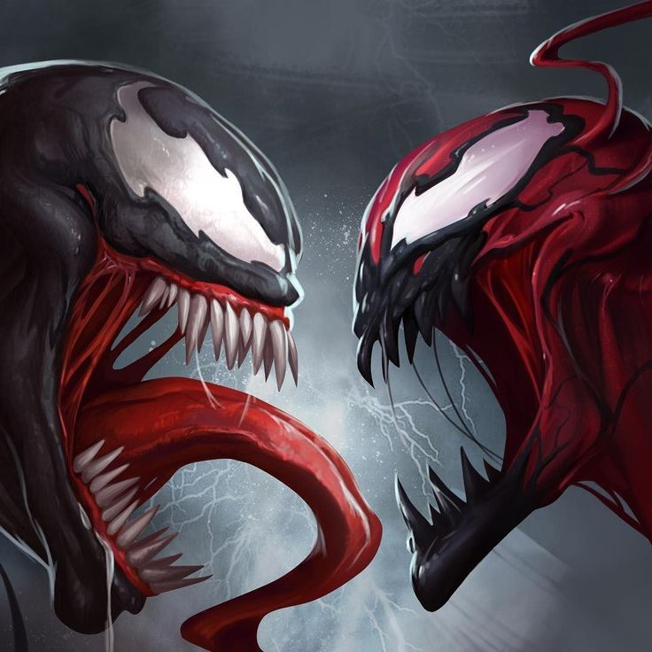 Spiderman Villains Venom and Carnage face off