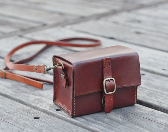 Classy Hand Stitched Dark Brown Leather Camera Case -- Bysen ETSY