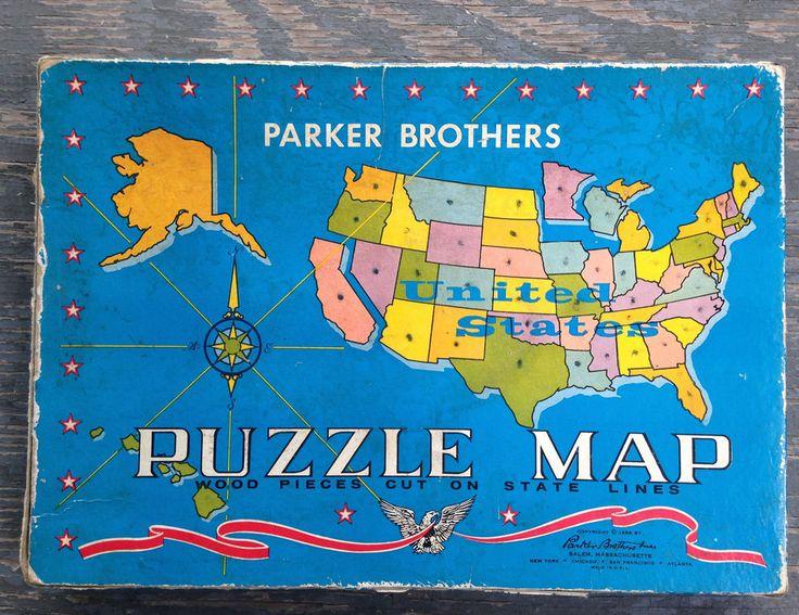 Best Vintage Board Games Images On Pinterest Vintage Board - Us jigsaw map wood