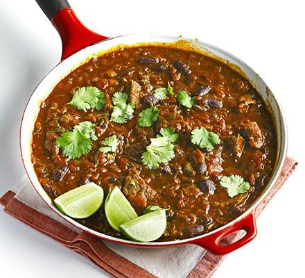 Use chunks of stewing beef in your chilli con carne for a robust and filling dish. Serve with rice and coriander