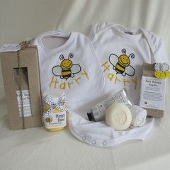 Buzzy Little Bubby personalised baby gift hamper.