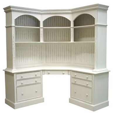 Island Corner Desk features a Hutch with three Arches and six Shelves and a Base with four drawers, a keyboard Pull-out Tray and two File Drawers. The hutch contains two shelves (one fixed and one adjustable) in each arch. This cor