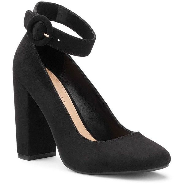 LC Lauren Conrad Crocus Women's High Heels ($40) ❤ liked on Polyvore featuring shoes, pumps, black, black high heel shoes, black chunky heel pumps, black high heel pumps, black pumps and wide heel pumps