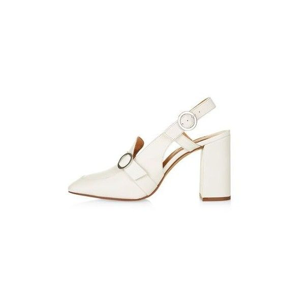 TopShop Gina Slingback Loafers (£30) ❤ liked on Polyvore featuring shoes, loafers, off white, block heel shoes, high heel slingback shoes, sling back shoes, genuine leather shoes and off white shoes