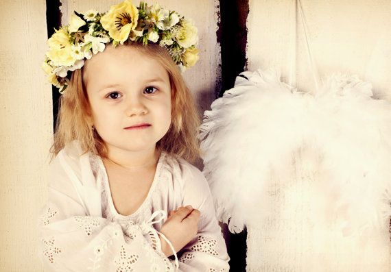 White flowers floral headband floral wreath by FlorangeDeXeni