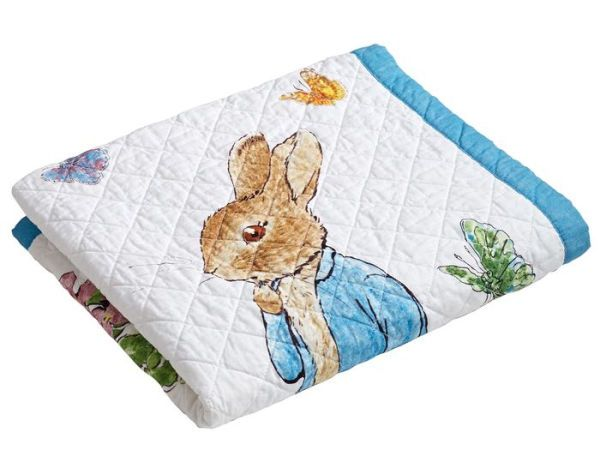 """Peter Rabbit Story Book White and Blue Border Children's Throw 38"""" x 48"""""""