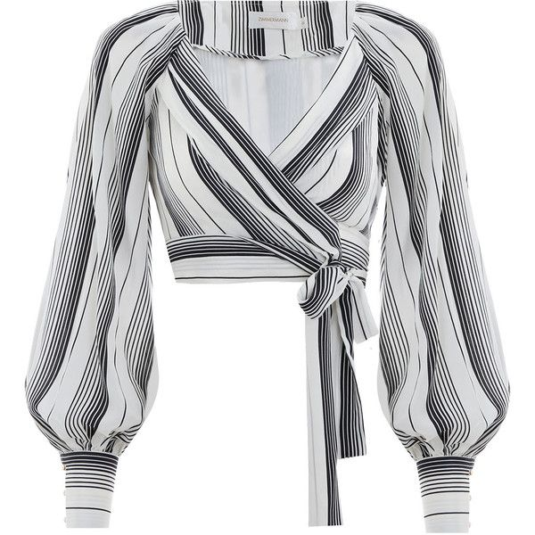 ZIMMERMANN Whitewave Chevron Wrap Blouse ($425) ❤ liked on Polyvore featuring tops, blouses, chevron tops, wrap style top, white top, wrap top and chevron blouses