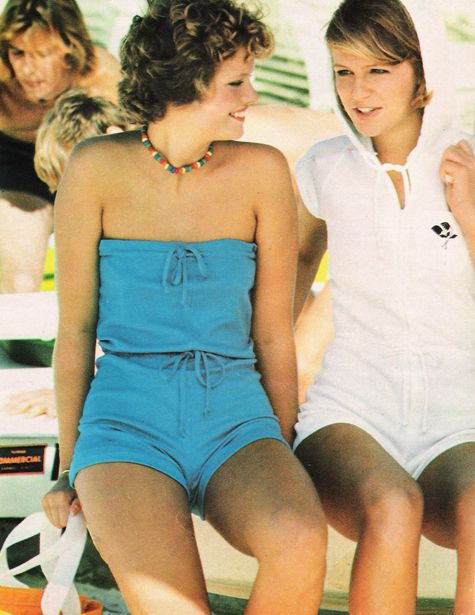 March 1977. Keep your cool in a strapless turquoise romper with drawstring top and waist.