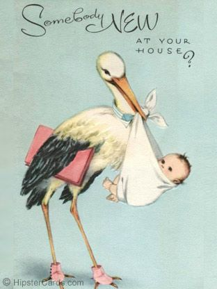 ❥ sweet vintage baby card~ Stork Delivery.........So they are calling me vintage....this IS my baby announcement card.
