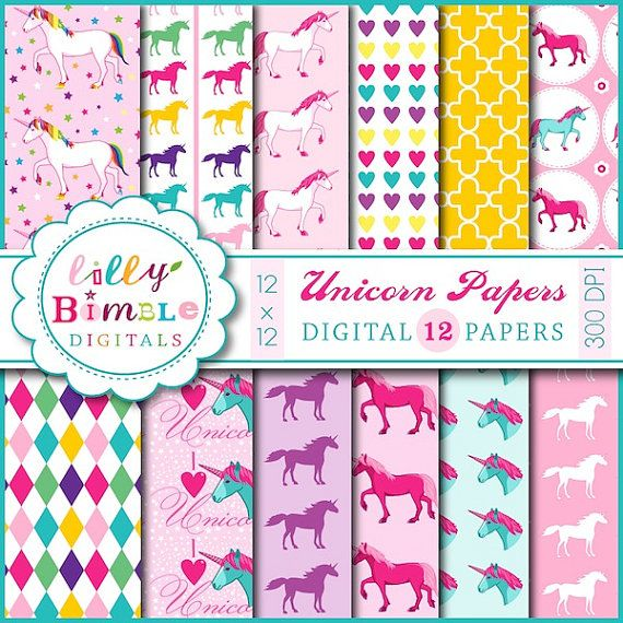 unicorn digital papers for scrapbooking  cards