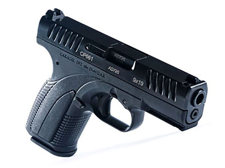 Caracal CP660 a modern semi-automatic pistol in 9x19mm with an 18-round magazine expected to retail at approximately $415. The Caracal is a fully ambidextrous polymer framed pistol that features an ergonomically designed grip with a rounded butt and a grip angle of 111 degrees. The lower forward edge of the frame has a mounting-bracket or rail interface system for mounting accessories. The pistol's low slide profile design holds the pistol barrel axis close to the shooter's hand and ...