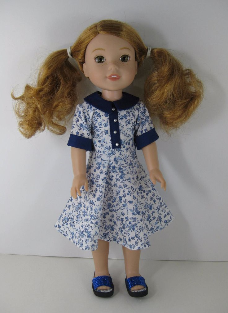 Wellie Wisher Blue and White Dress and Blue Sandals by TheForgetMeNotShop on Etsy