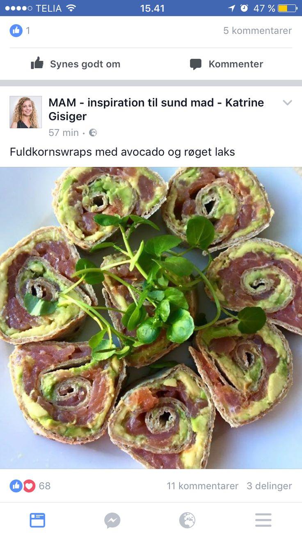 Fuldkornswrap med avocado og røget laks
