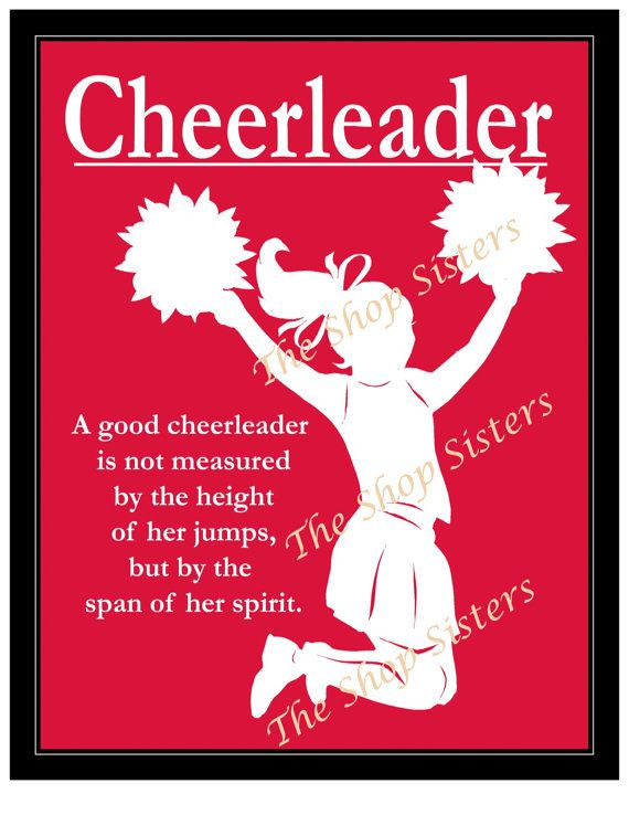 Inspirational Cheerleader Girl Silhouette Crimson Red 8 x 10 Print Wall art FREE SHIPPING