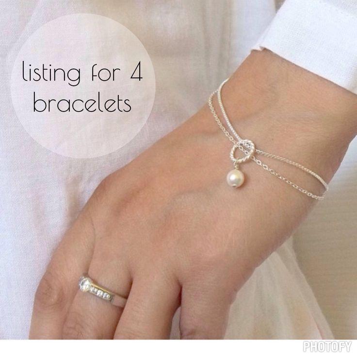 Swarovski pearl bracelet -set of 4 bridesmaids gift #wedding #bridal #gift #jewelry #etsy