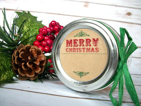 KRAFT Blank Christmas Canning jar labels, round retro christmas stickers for holiday gifts, mason jars, jam jar labels, kraft stickers, CanningCrafts, Etsy $5