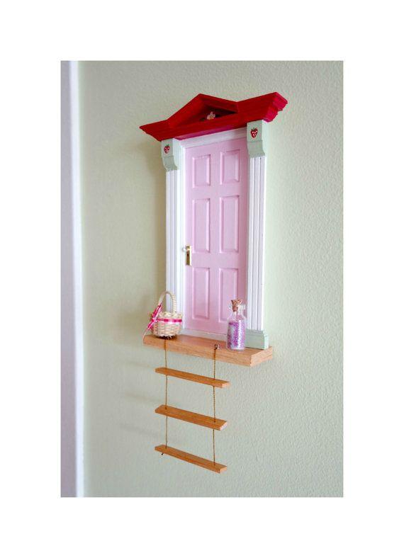 Fairy Door Strawberry Fairy Door Pink Fairy Door by Portesbonheur