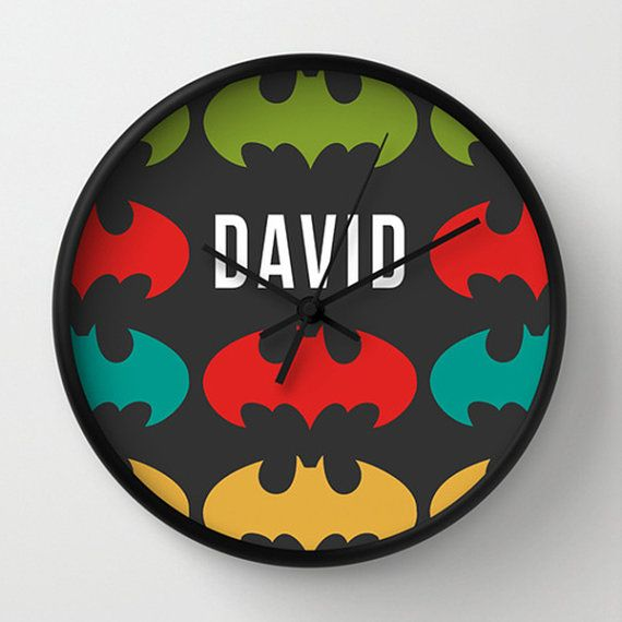 Hey, I found this really awesome Etsy listing at https://www.etsy.com/listing/176847300/bat-man-wall-clock-personalized-clock