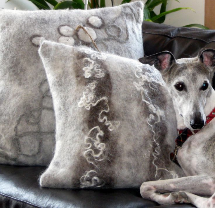 Hand felted cushions and Scout