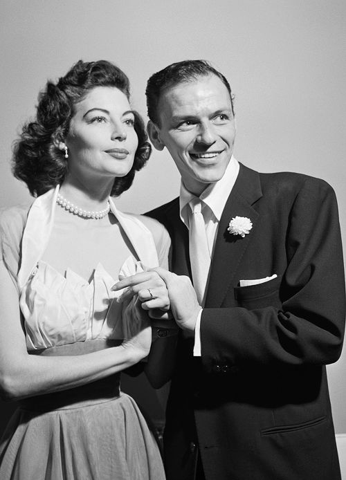 Ava Gardner and Frank Sinatra on their wedding day, 1951( I LOVE her dress)