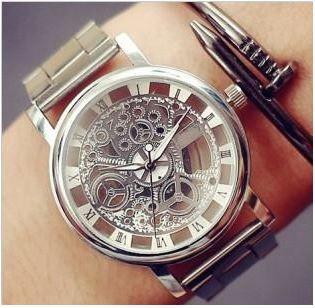 Luxury Stainless Steel Skeleton Watch Steampunk Wristwatch