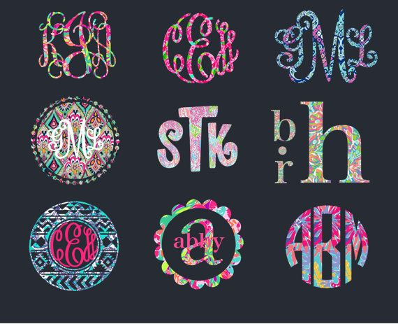 Patterned Monogram Decal for your car by DebbieDoodleDesigns