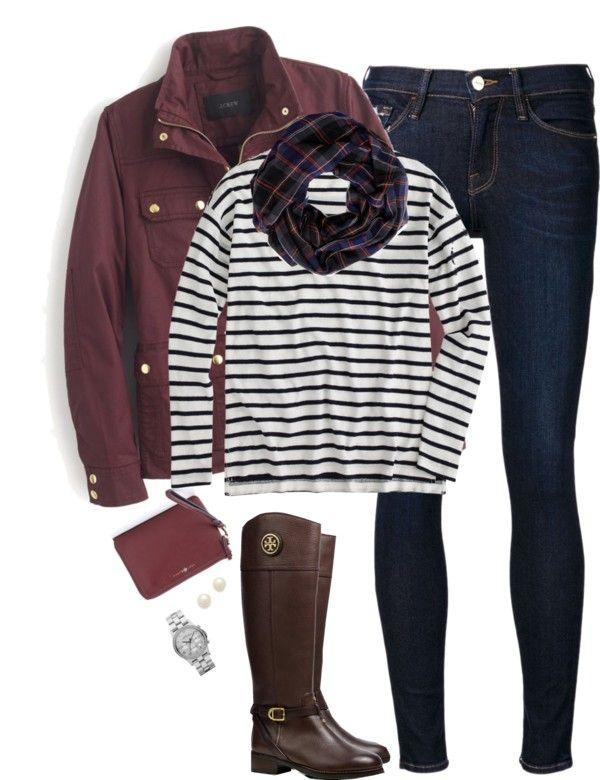 Burgundy, stripes & plaid by steffiestaffie featuring a red purse ❤ liked on Polyvore J Crew striped t shirt $66 - jcrew.com J Crew military field jacket jcrew.com Frame Denim skinny...