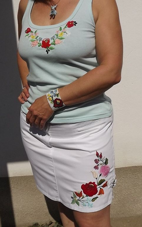 FREE SHIPPING Skirt with Kalocsa motifs white by Mariannasboutique, $60.00