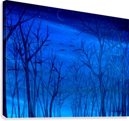 landscape, painting, art, forest, winter, scene, night, sky, blue
