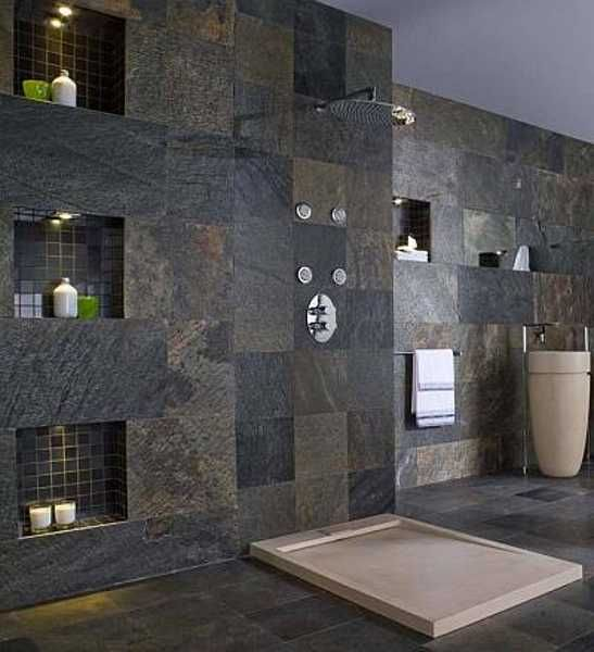 bathroom wall and floor made with stone slabs