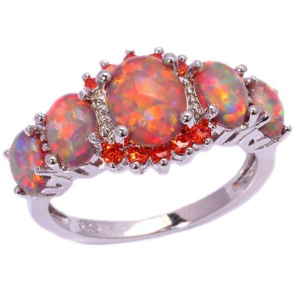 Amazon.com: CiNily Rhodium Plated Created Orange Fire Opal Orange... (£7.27) ❤ liked on Polyvore featuring jewelry, rings, orange garnet ring, orange gemstone jewelry, rhodium plated ring, orange jewelry and orange ring
