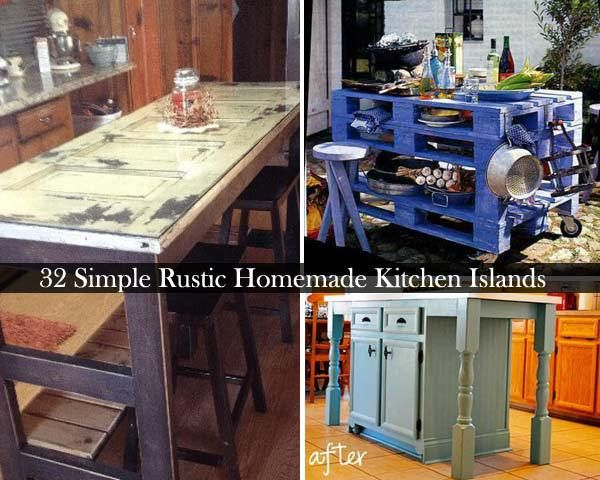 32 Simple Rustic Homemade Kitchen Islands #cheap #kitchen http://kitchens.nef2.com/32-simple-rustic-homemade-kitchen-islands-cheap-kitchen/  #cheap kitchen islands # 32 Simple Rustic Homemade Kitchen Islands It can be said that kitchen is the heart of a family, and the kitchen island is the center of the heart. It can meet all your needs such as cooking, dining and entertaining. But other than that, you shouldn t ignore its role of decor. If you think your kitchen is a bit dull and boring…