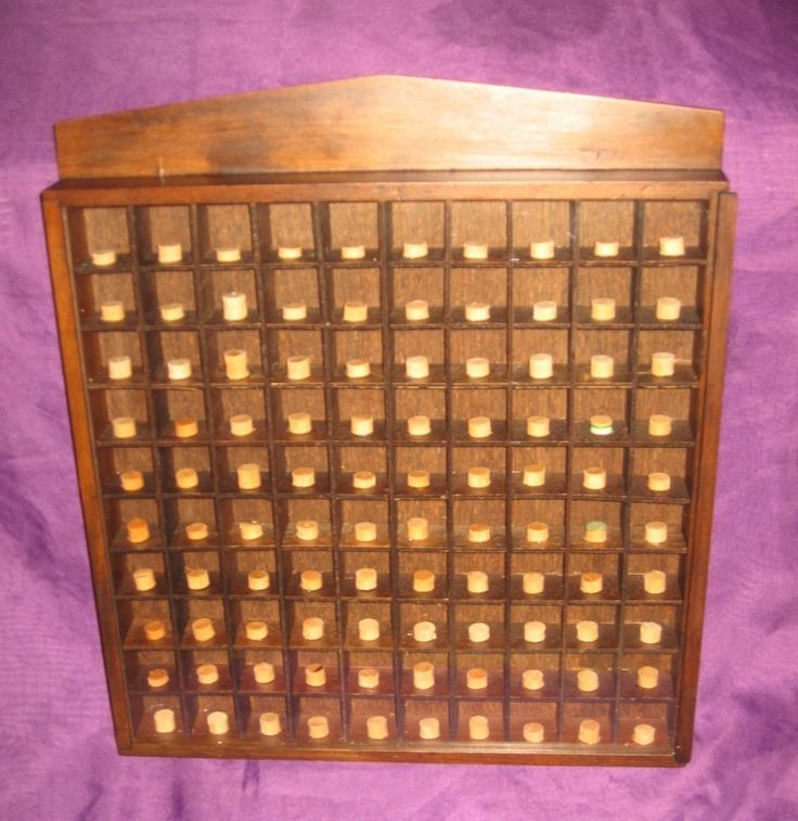 Vtg 100 thimble wood pegged display case cabinet wall