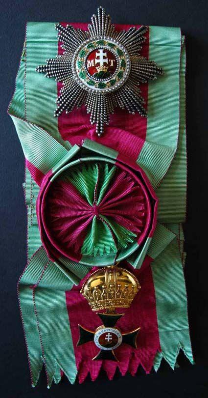 Saint Stephen Order, Grand Cross badge on sash with rosette, later crown.
