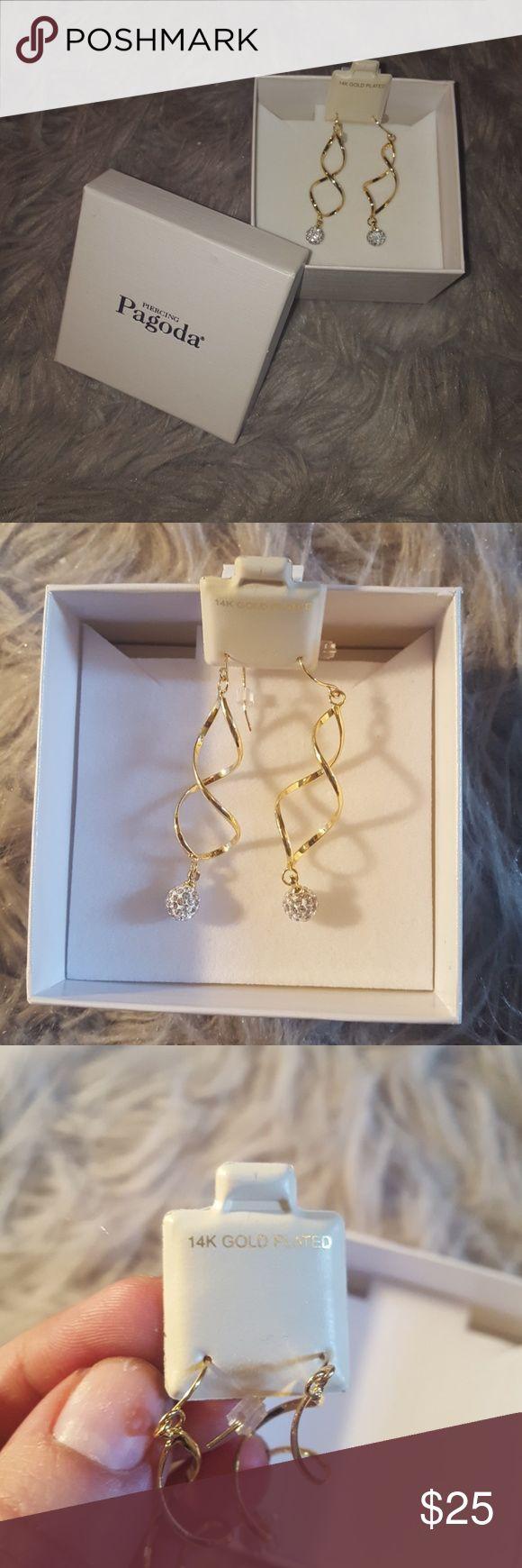 Dangling Earrings Piercing Pagoda 14k Gold Plated Earrings  Never worn Adorable crystal bottoms Piercing Pagoda Jewelry Earrings