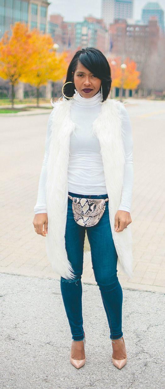 Cream Vest, Faux Fur Vest, Winter outfit Idea, Indianapolis Style Blog