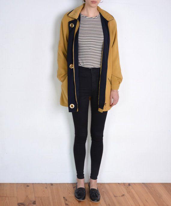 90's mustard jacket silky golden honey beige by WoodhouseStudios