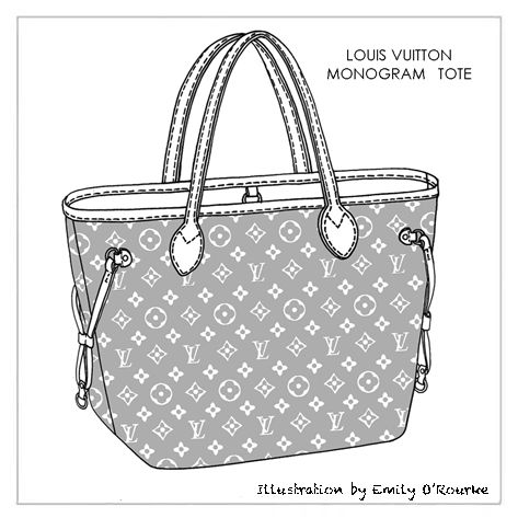 LOUIS VUITTON - MONOGRAM TOTE BAG - Iconic Famous Designer Handbag Illustration / Sketch / Drawing / CAD / Purse Illustration / Borsa Disegno / Illustrazioni Borse /  styliste sac à main
