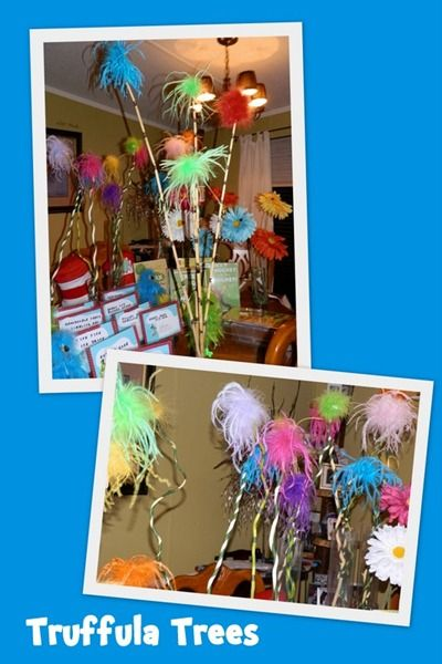 Truffula trees hair bow feathers long bamboo sticks for Baby shower tree decoration
