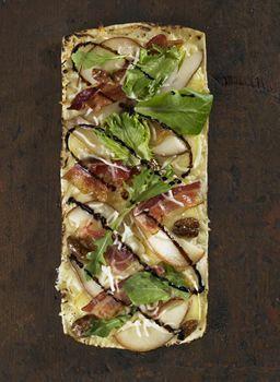 Thin Crust Brie, Pear & Bacon Pizza