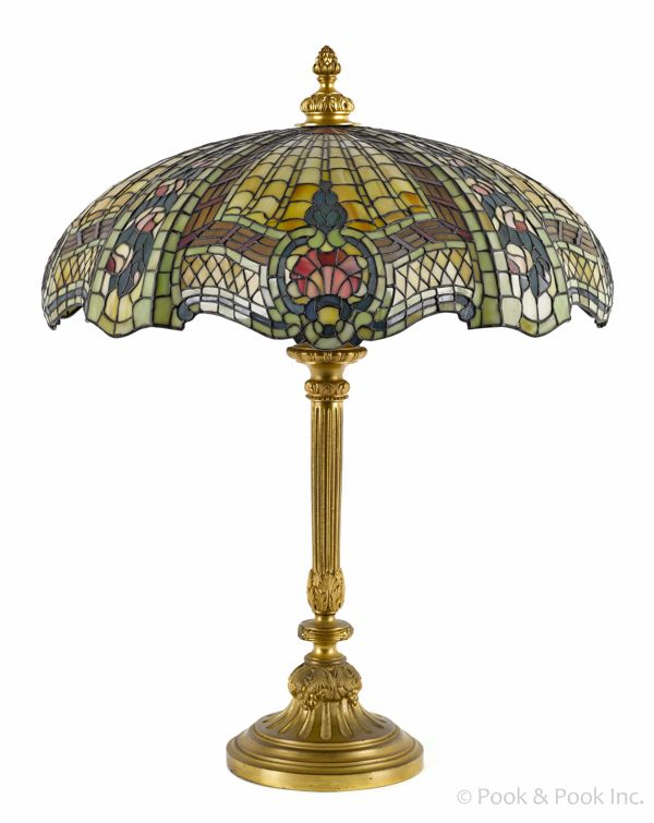 Brass And Slag Glass Table Lamp, Early 20th C.