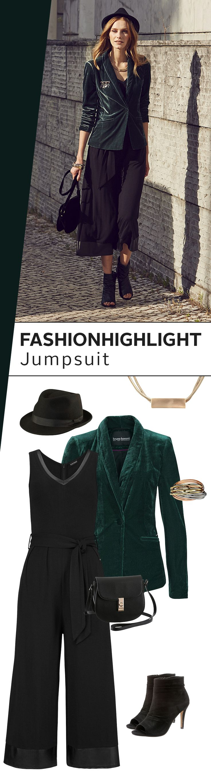 Was für ein Wow-Look! Ein Jumpsuit ist wie dafür gemacht, den außergewöhnlichen Style zu zelebrieren. Kombiniere den Ganzkörperanzug mit dem dunkelgrünen Samtblazer, Hut und den atemberaubenden Peeptoe-Sandaletten zum Hingucker-Outfit des Tages! Ach was, des Jahres!