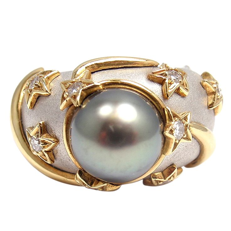 1stdibs - CHANEL Diamond Star Tahitian South Sea Pearl White Gold Ring explore items from 1,700  global dealers at 1stdibs.com
