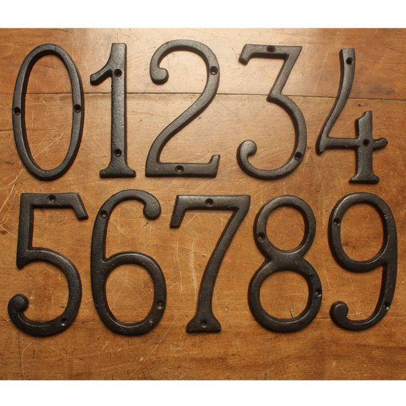 Cast Iron House Numbers 6 Inch Metal Home Address Numbers Antique Traditional Rustic Old Black English Style Number Signs Quality Made
