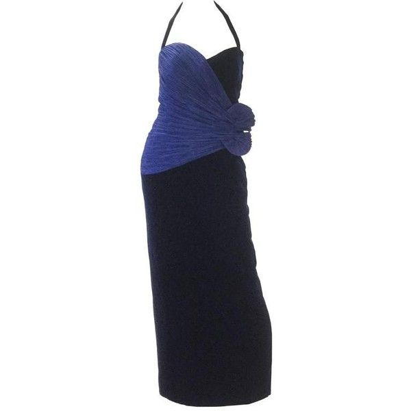 Preowned 1980s Murray Arbeid Signature Blue Taffeta & Black Velvet... ($545) ❤ liked on Polyvore featuring dresses, gowns, blue, evening dresses, couture gowns, blue velvet dress, couture evening gowns, halter evening gowns and embellished gown