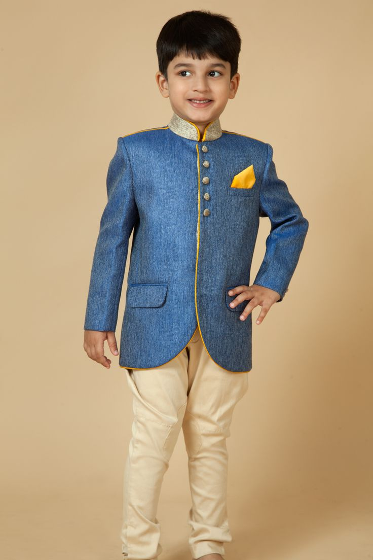 Jute jodhpuri with cotton satin polo pants highlighted with dori embroidery on collar and buttons. Item number KB15-04